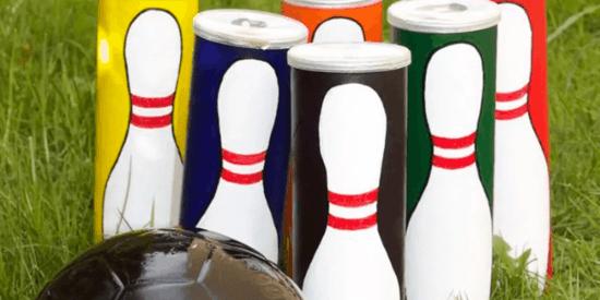 bowling kegel aus pringles dosen
