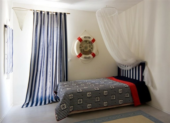deko vorhang schlafzimmer fischernetz