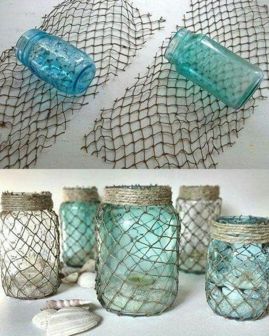 einweckgläser dekorieren mit fischernetz