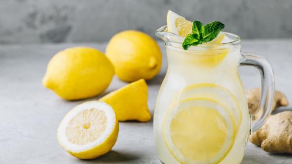 erfrischende Sommergetränke Zitronenwasser ein Glas voller Wasser Scheiben Zitronen Minze Blätter