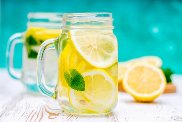 erfrischende Sommergetränke Zitronenwasser eine Kanne pures Wasser mit Scheiben Zitrone Minze Blätter