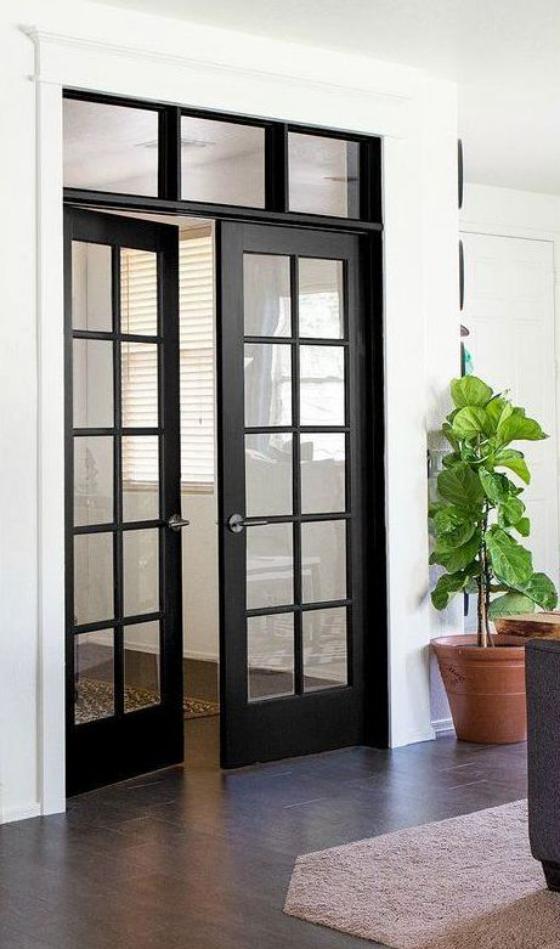 französische Fenstertüren zwei Flügel schwarzer Rahmen in verschiedenen Größen erhältlich
