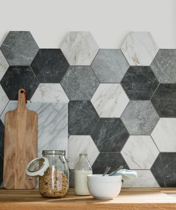 küche fliesenspiegel ombre stil kreative wandgestaltung