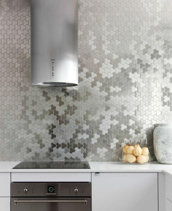 küche fliesenspiegel silber look moderne küche einrichten