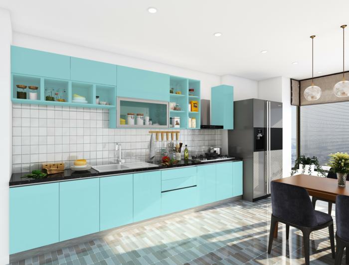 deixe a cozinha embrulhar em azul