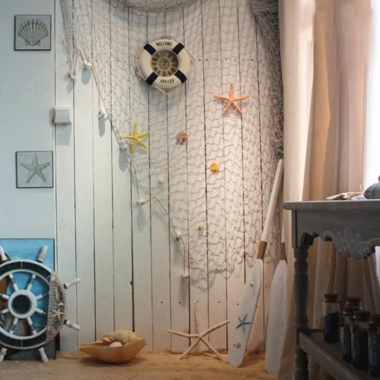 maritime villa dekorieren mit fischernetz
