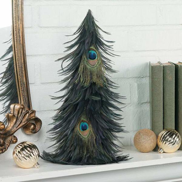 mini weihnachtsbaum basteln aus pfauenfedern