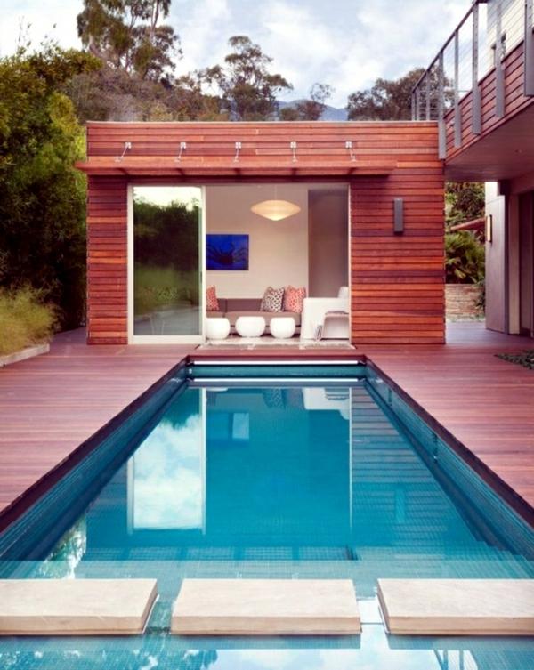 moderner garten mit pool gartenhaus erholungsort