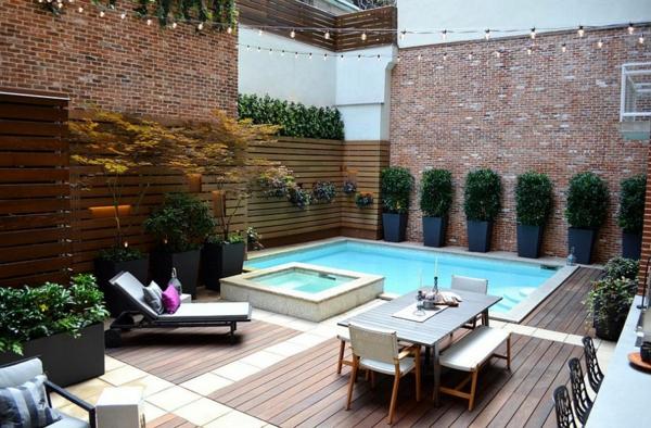 moderner garten mit pool hinterhof kleines schwimmbad mehrere bereiche