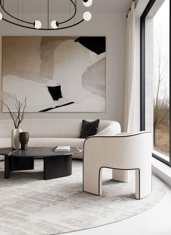 modernes Wohnzimmer Eleganz in der Raumgestaltung gerundete weiße Möbel