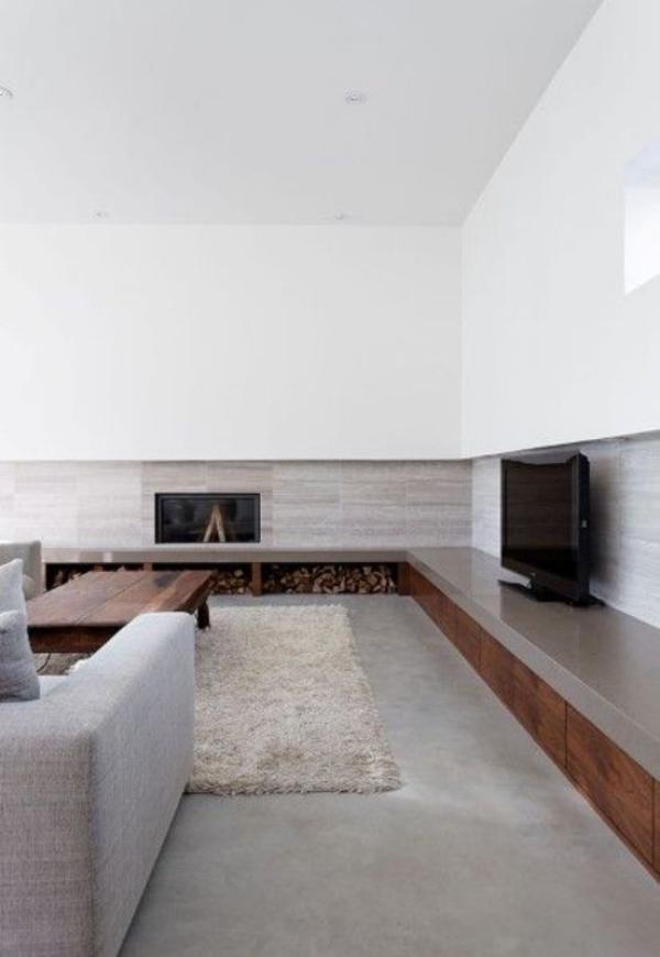 modernes Wohnzimmer minimalistisches Design Weiß und Hellgrau