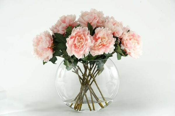 pfingstrosen in der vase pfingstrosen glasgefäß schnittblumen