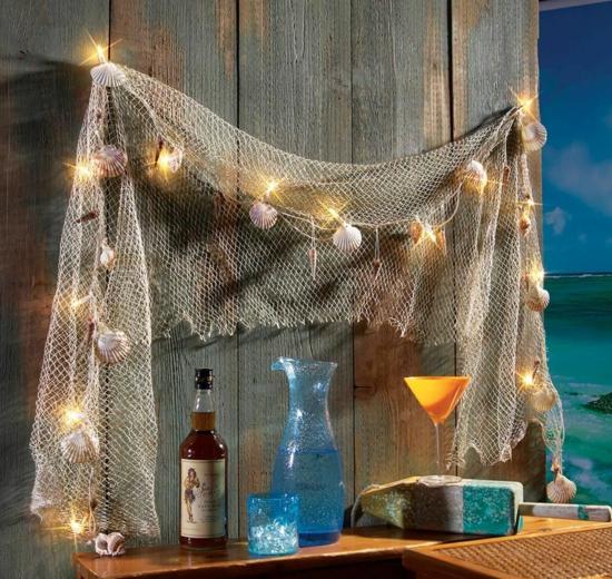 romantische deko fischernetz lichterketten