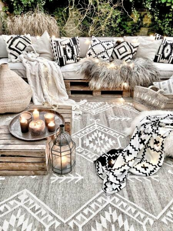 runder outdoor teppich boho stil frisches muster