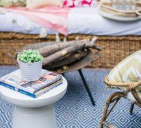 Runder Outdoor Teppich wertet Ihr zweites Wohnzimmer draußen auf