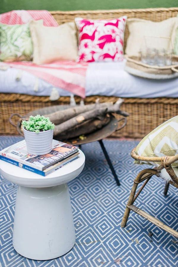 runder outdoor teppich frische muster heitere sommer stimmung
