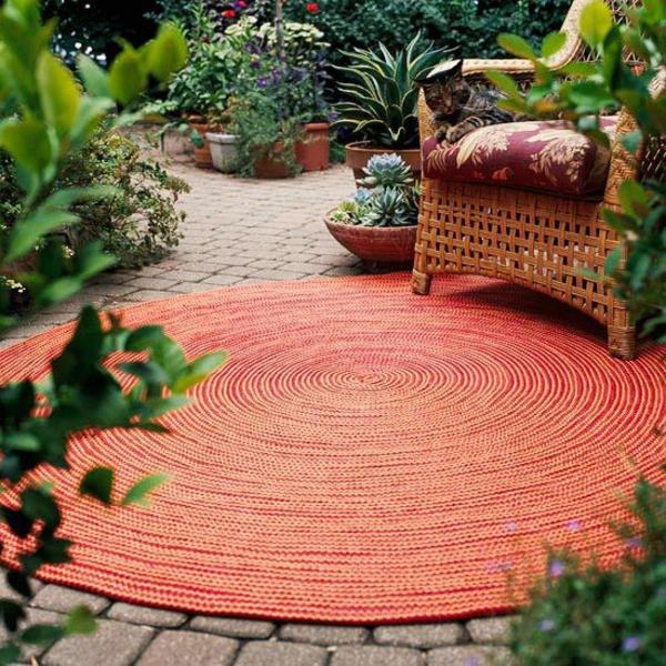 runder outdoor teppich schöne farbe frischer hauch