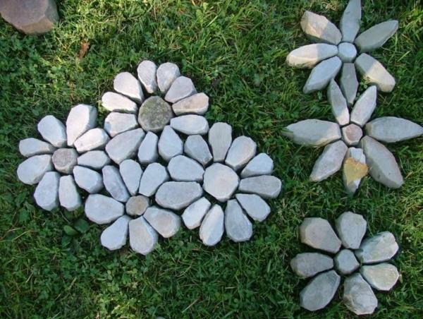 sommer gartendeko selber machen steinblumen ausgefallene gartendeko selber machen