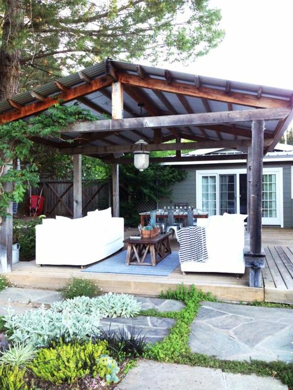 terrasse dekorieren gemütlich sitzen sommer garten gestalten