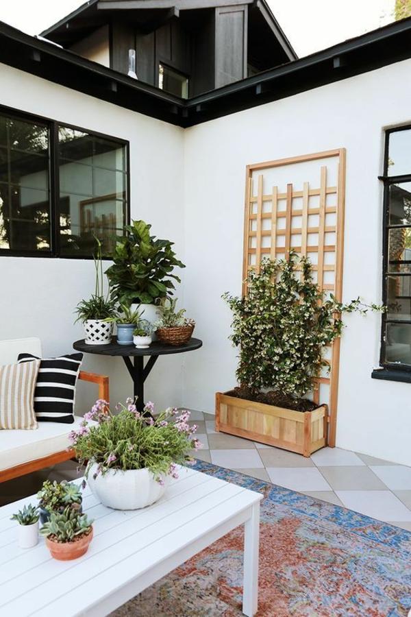 terrasse dekorieren rankgitter passende balkonpflanzen