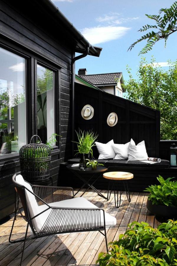 terrasse dekorieren stilvolle farbkombination pflanzen