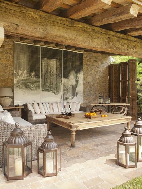 terrasse dekorieren windlichter wanddeko überdachung