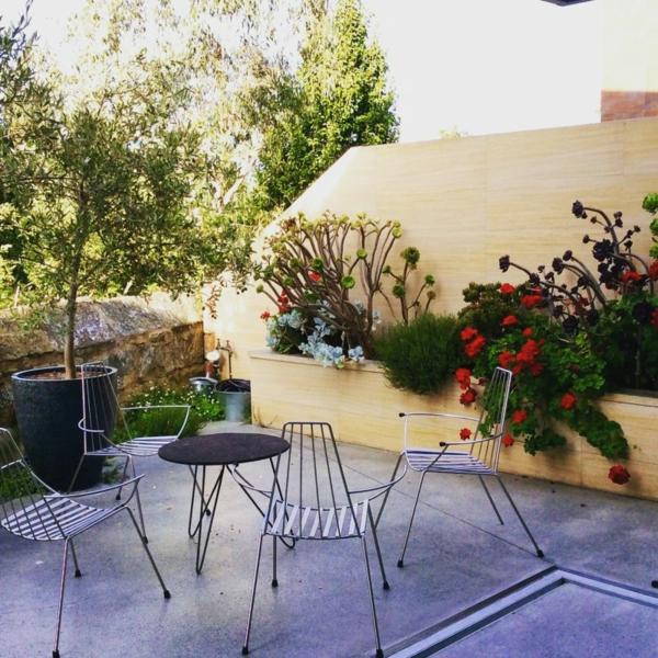terrassentrennwand elegantes design schöne pflanzen