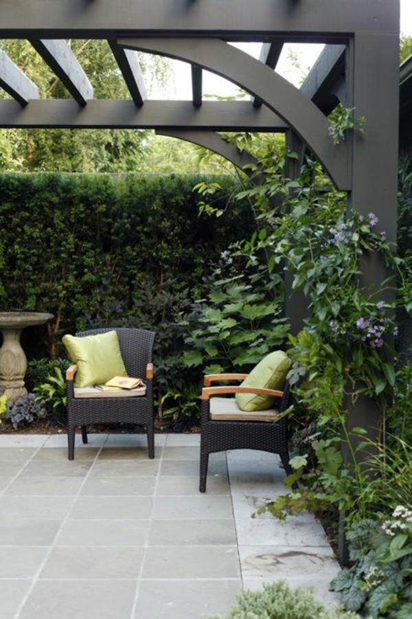 terrassentrennwand pflanzen blickdichter sichtschutz pergola