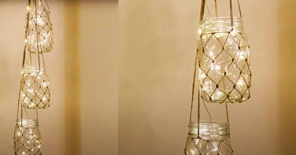 windlicht selbst gestalten hängende deko leuchterkette