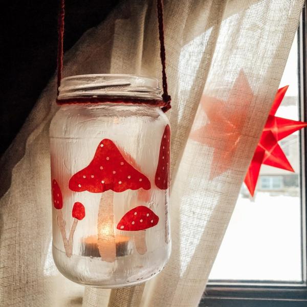 windlicht selbst gestalten pilzen einmachglas umwandeln