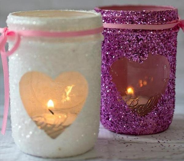 windlicht selbst gestalten romantisch herz valentinstag