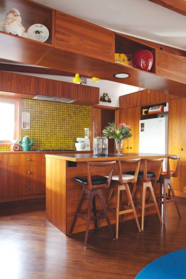 wohnküche einrichten frische farbakzente funktionale offene küche