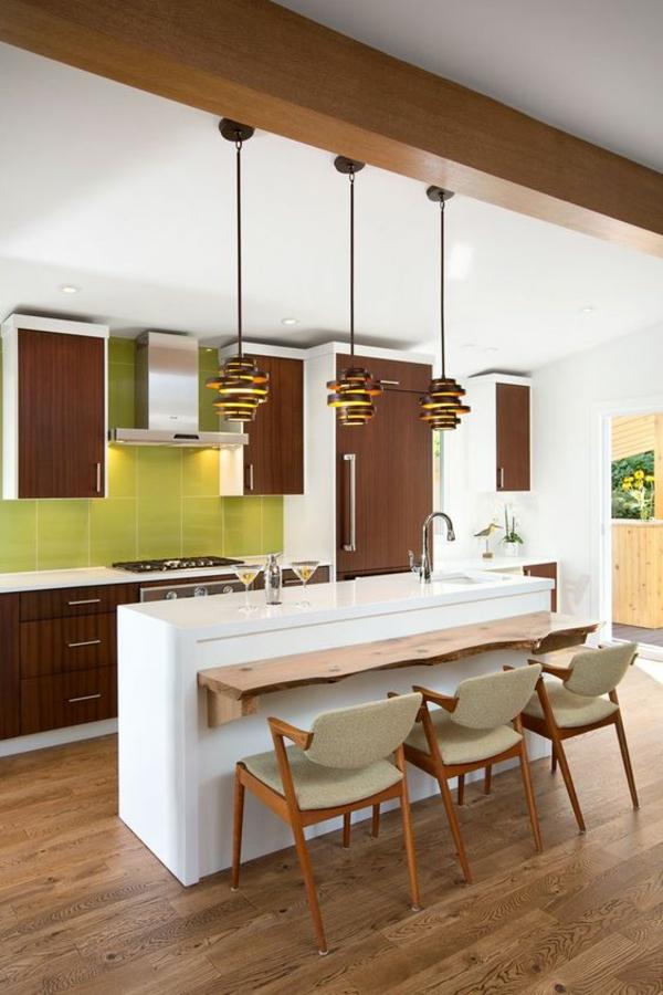 wohnküche einrichten frische farben kücheninsel beleuchten