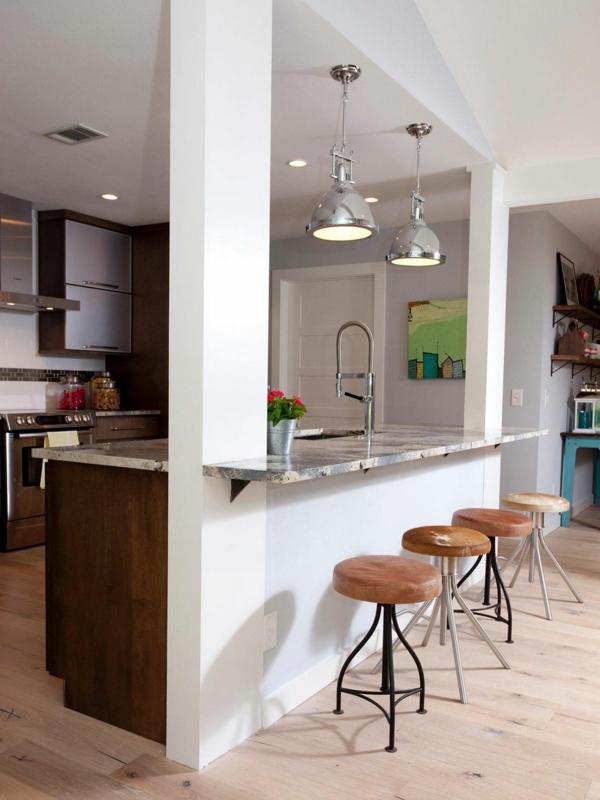 wohnküche einrichten funktionale kücheninsel barhocker sitzgelegenheiten