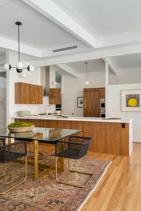 wohnküche einrichten gemütlcih große arbeitsfläche