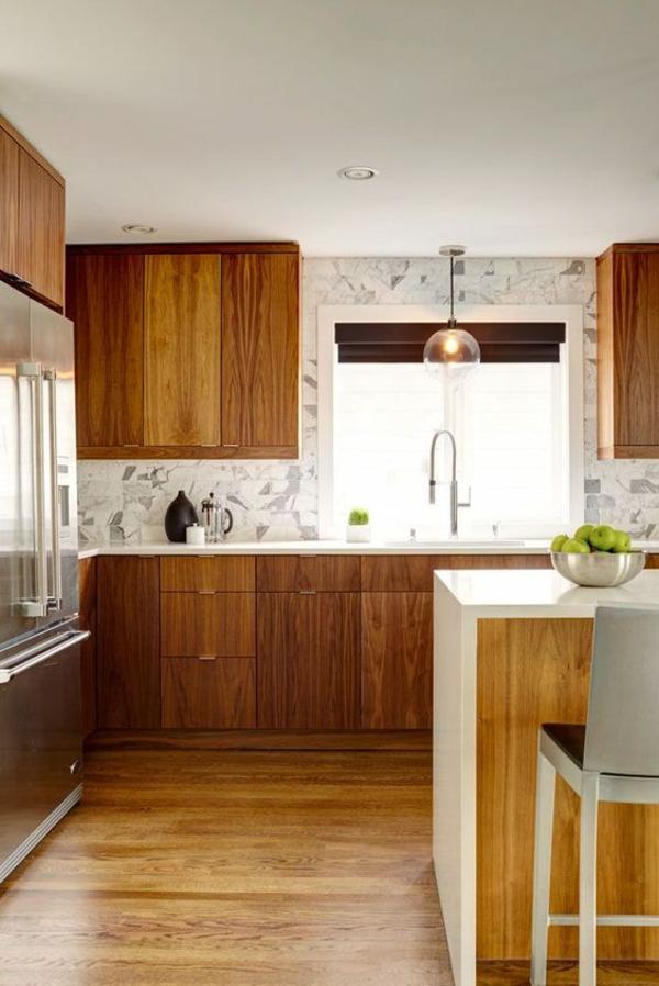 wohnküche einrichten küchenrückwand ideen holzoptik