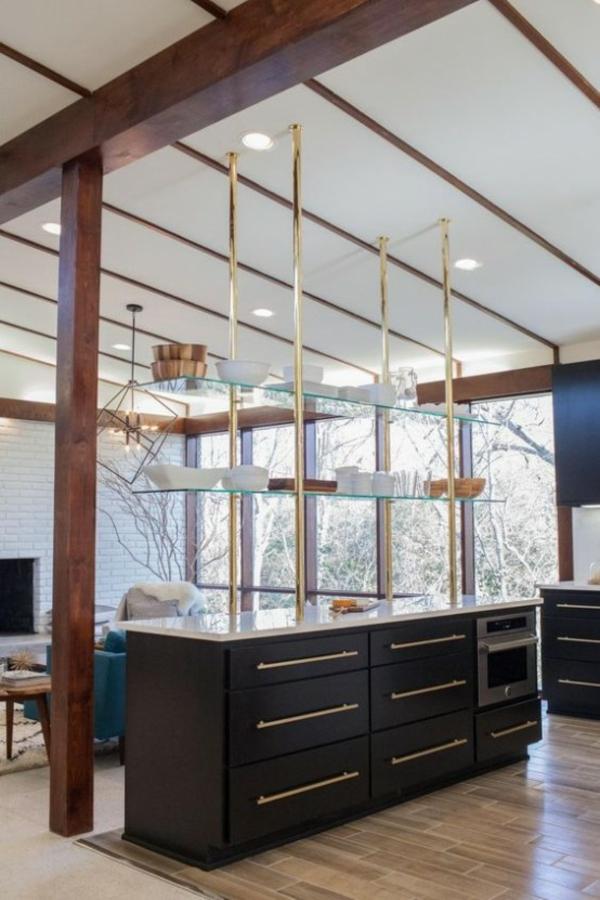 wohnküche einrichten kreative lösung wohnzimmer küche abtrennen