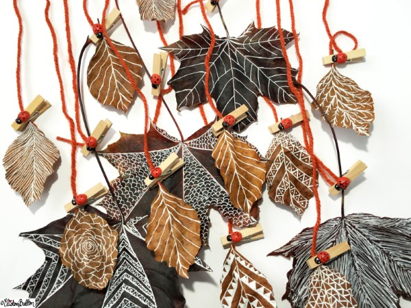 Basteln zum Herbst mit Naturmaterialien aus dem Garten oder Park blätter bemalen windspiel anleitung