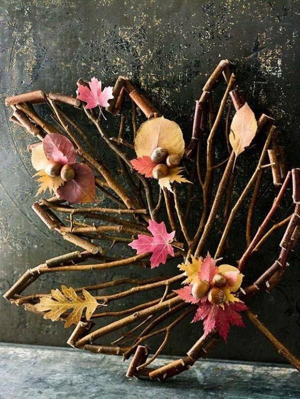 Basteln zum Herbst mit Naturmaterialien aus dem Garten oder Park blätter riesen diy ideen