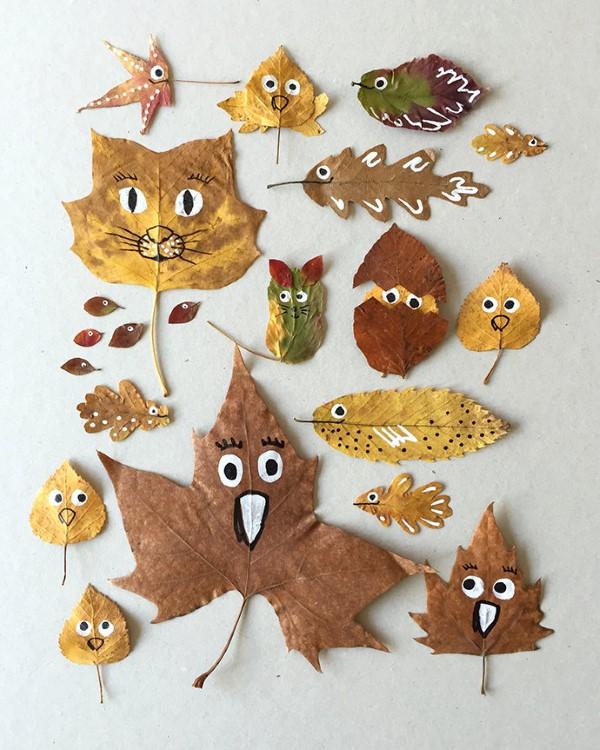Basteln zum Herbst mit Naturmaterialien aus dem Garten oder Park niedliche blätter tiere