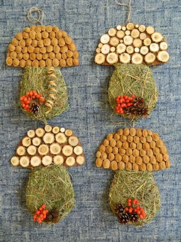 Basteln zum Herbst mit Naturmaterialien aus dem Garten oder Park pilze puzzle diy ideen