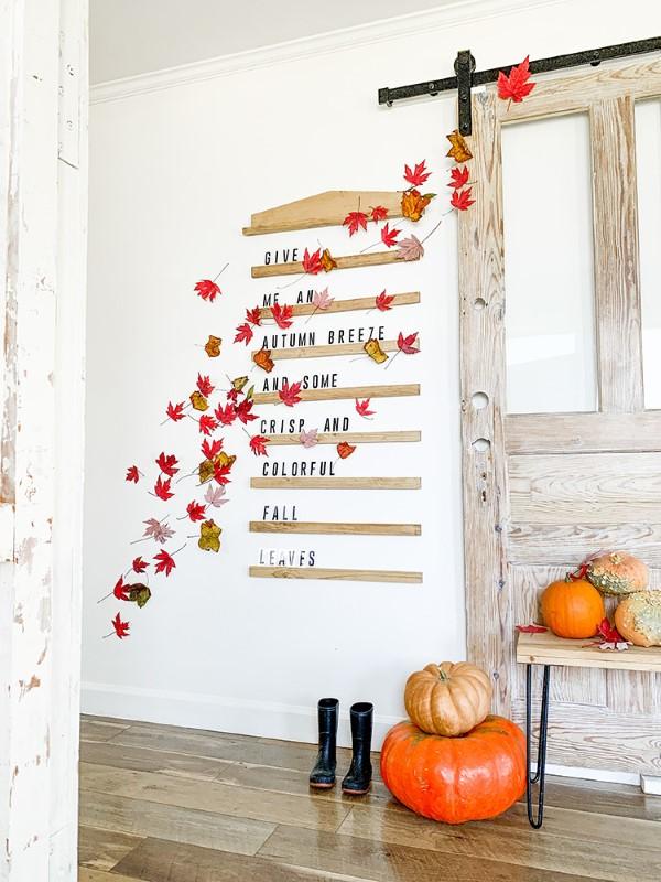 Basteln zum Herbst mit Naturmaterialien aus dem Garten oder Park wanddeko hübsch blätter