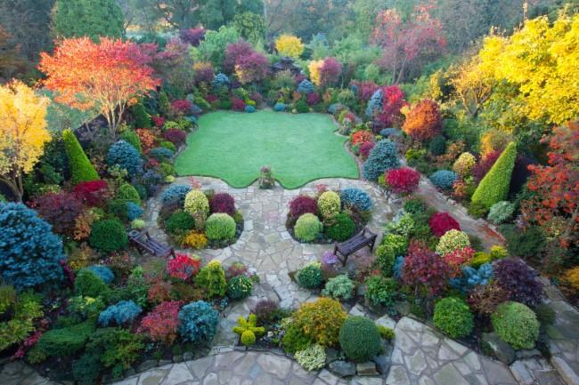 Einen märchenhaften Herbstgarten gestalten – farbenfrohe Ideen und Tipps sicht von oben ideen