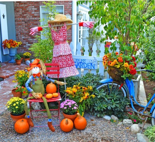 Einen märchenhaften Herbstgarten gestalten – farbenfrohe Ideen und Tipps vogelscheuchen deko ideen
