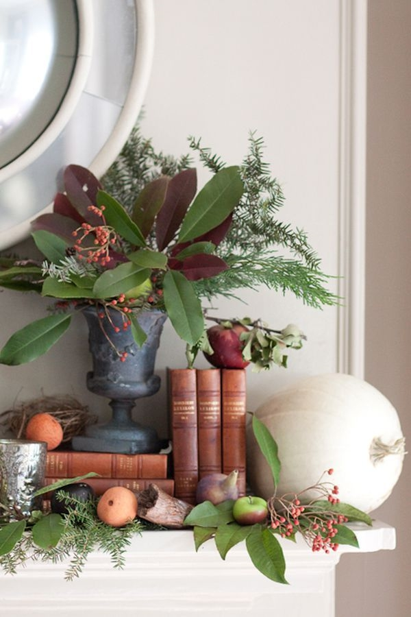 Herbstdeko-Ideen Kaminsims Gemüse und Obst
