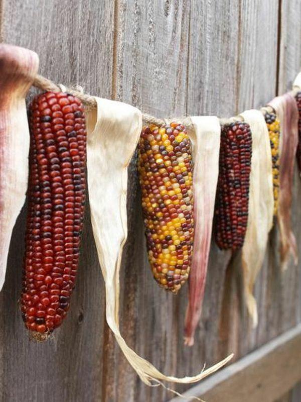 Herbstdeko-Ideen Mais Girlande basteln