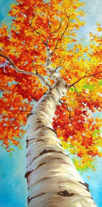 Herbstdeko-Ideen Wandgemälde Birke Baum Herbstblätter