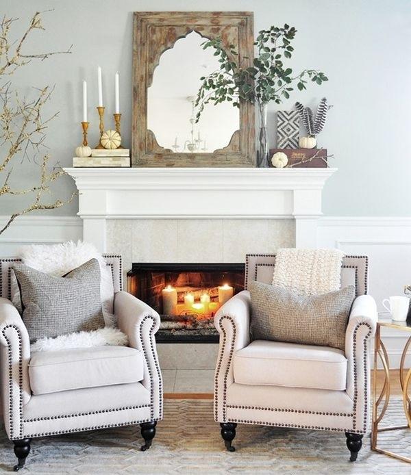 Herbstdeko-Ideen Wohnzimmer Sessel Kamin