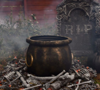Hexenkessel in der Halloween Dekoration – tauchen Sie in die magische Welt ein!