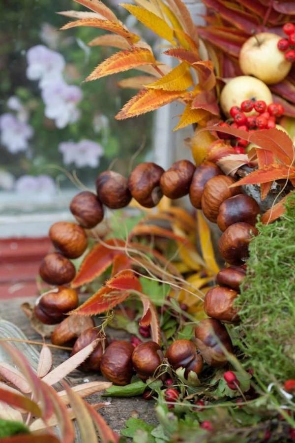 Kastanienkranz basteln zum Herbst – kreative Ideen und kinderleichte Anleitung draht kastanien metallring